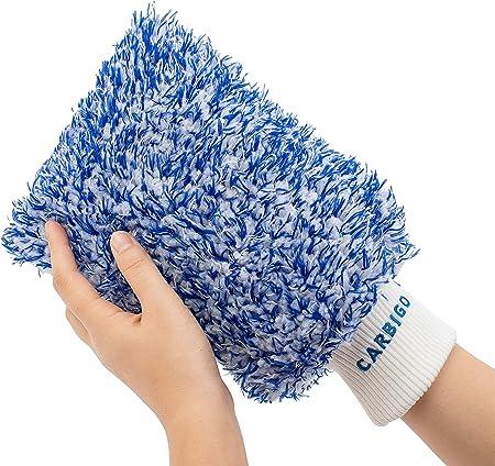 Carbigo Profi Waschhandschuh Auto Extrem Saugstarker Autowaschhandschuh Idealer Mikrofaser Handschuh Und Felgenhandschuh Perfekt Für Nassreinigung Von Autos Motorräder Oder Haushalt Blau Auto