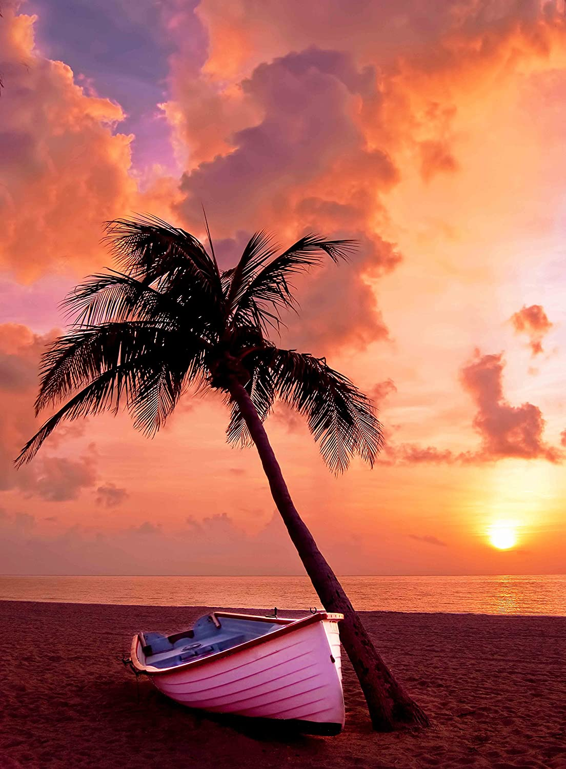 Adult Jigsaw Puzzle Colorful Beach Sunset Palm Tree Boat 500-Pieces