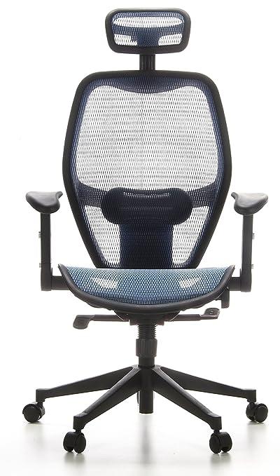 hjh OFFICE 653060 silla de oficina AIR-PORT tejido de malla azul, apoyabrazos plegables, soporte lumbar, apoyacabezas, inclinable, sillón alta gama: ...
