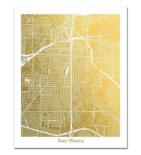 Amazon com: Fort Worth Map, Gold Foil Print, Gold Foil Map