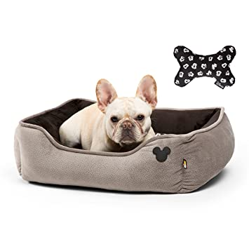 Disney Mickey Mouse Rectangular Cuddler with Toy Bone, Gray, 24 x 22/One