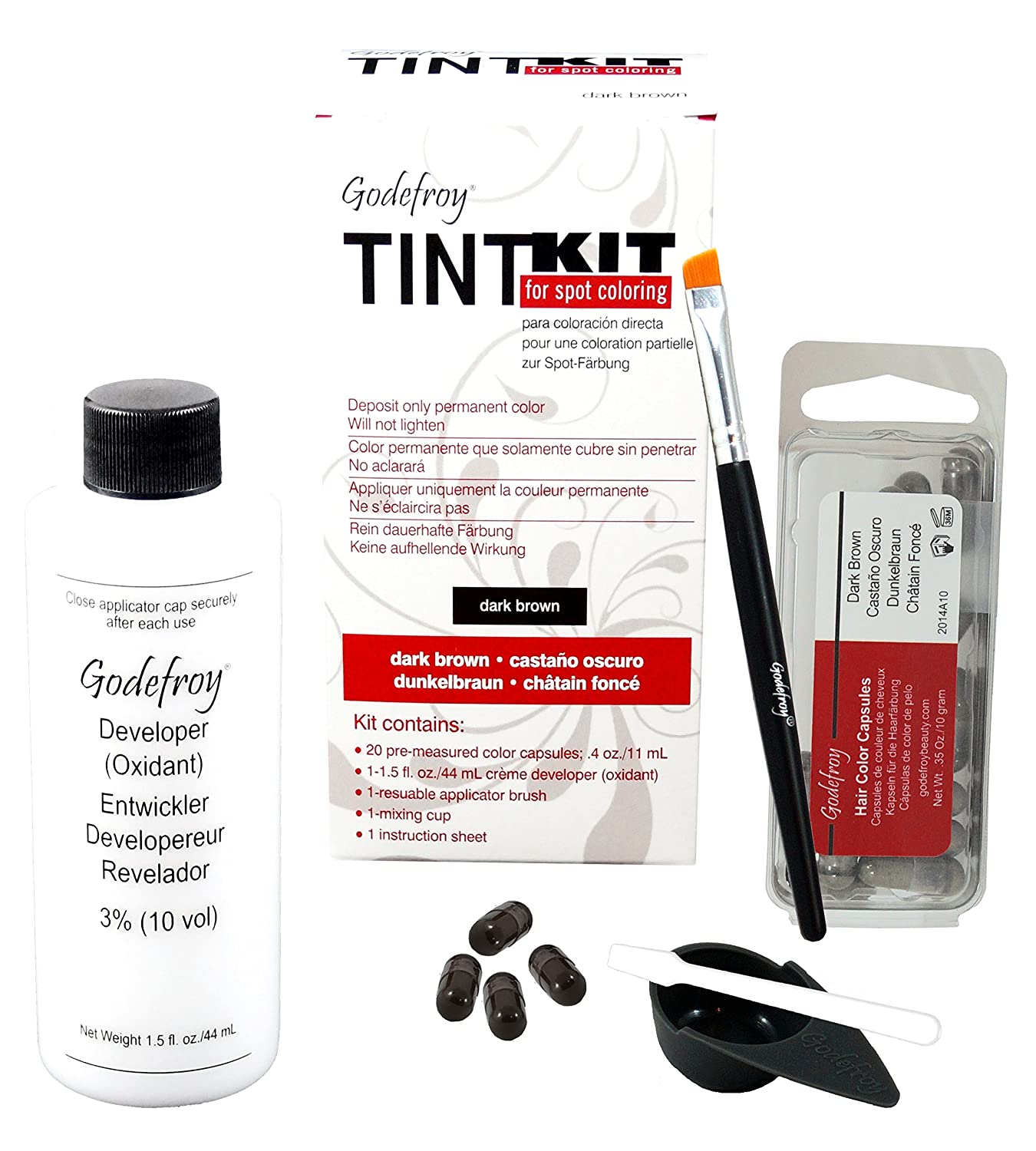Godefroy Tint Kit Professional For Male Facial Hair Dark Brown