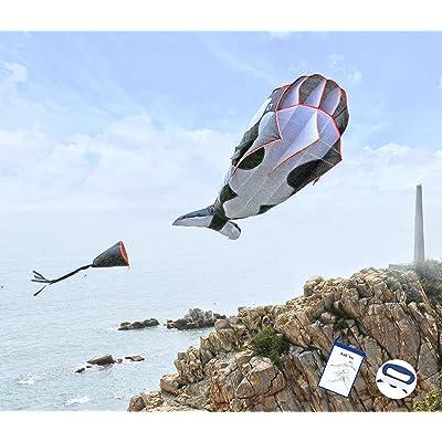 kizh Kite Giant 3D Dolphin Frameless Soft Parafoil Kites for Kids and Adults Easy Flyer Kite for Beach Park Garden Playground (Black): Garden & Outdoor