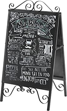 Amazon Com Mygift Scrollwork Design Large A Frame Black Metal Freestanding Chalkboard Sign Decorative Restaurant Menu Sidewalk Message Board Office Products