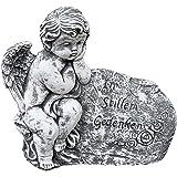 Stone and Style Grabschmuck Engel am Fels mit Inschrift, massiver Steinguss, frostfest