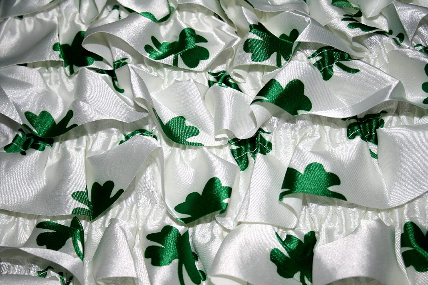 836625eec08 Amazon.com  Shamrock (Clover) White   Green St Patrick s Day Baby Satin  Ruffles Petti Romper  Clothing