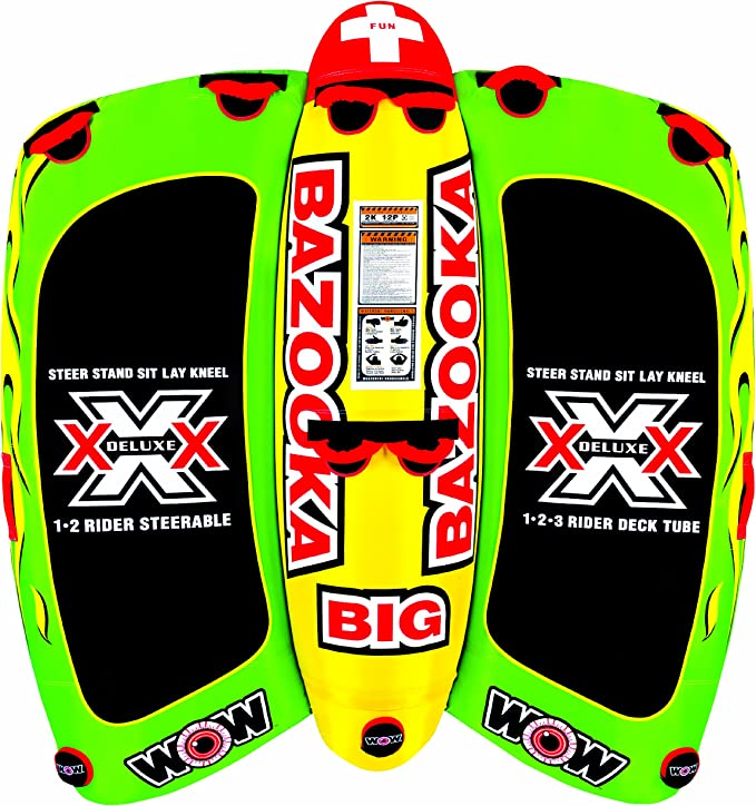 WOW World of Watersports 13-1010, Big Bazooka 1 to 4 Person, Inflatable Towable Deck Tube, Steerable best towable raft