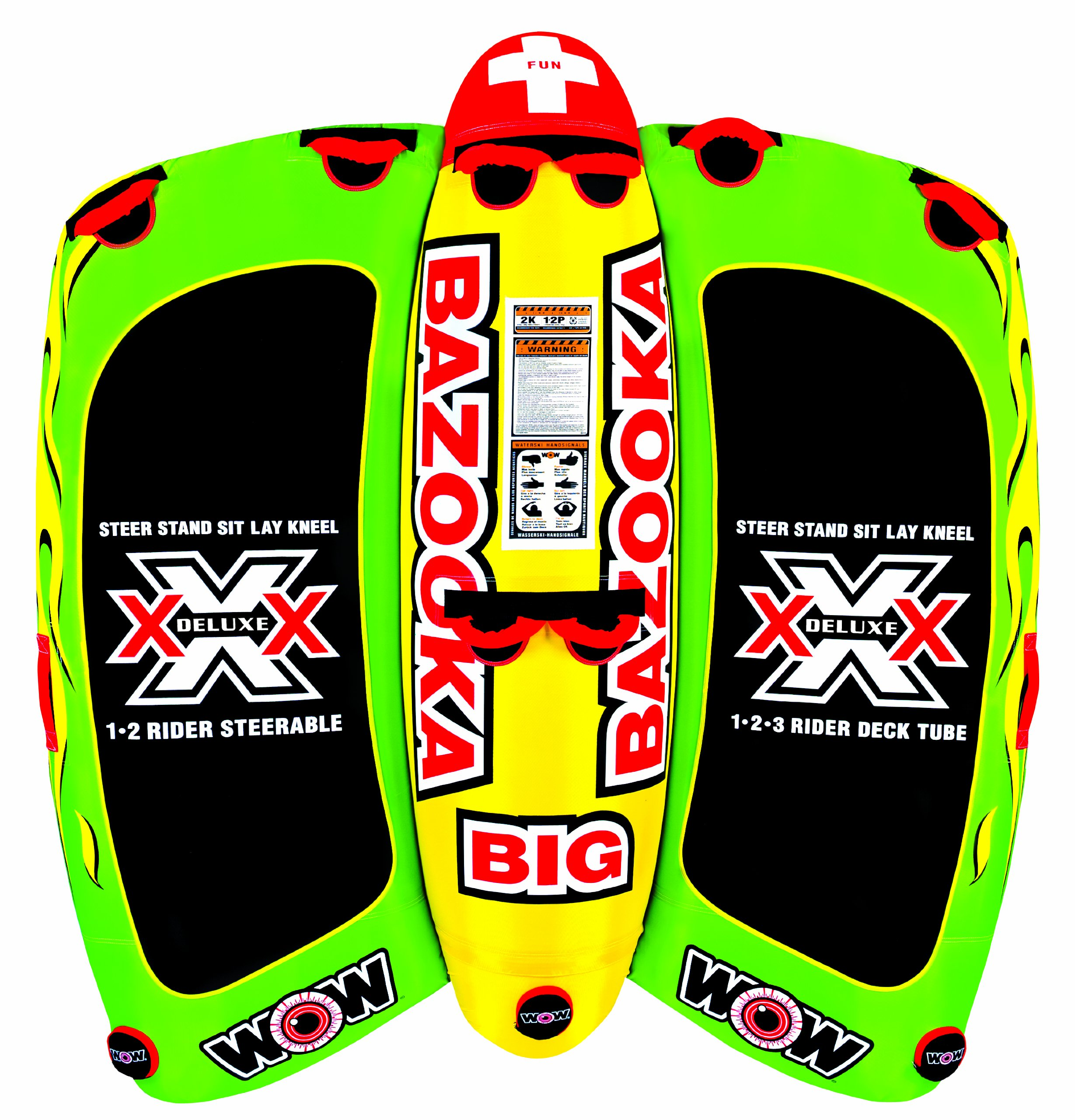 Wow World of Watersports 13-1010, Big Bazooka 1 to 4 Person, Inflatable Towable Deck Tube, Steerable by WOW Sports