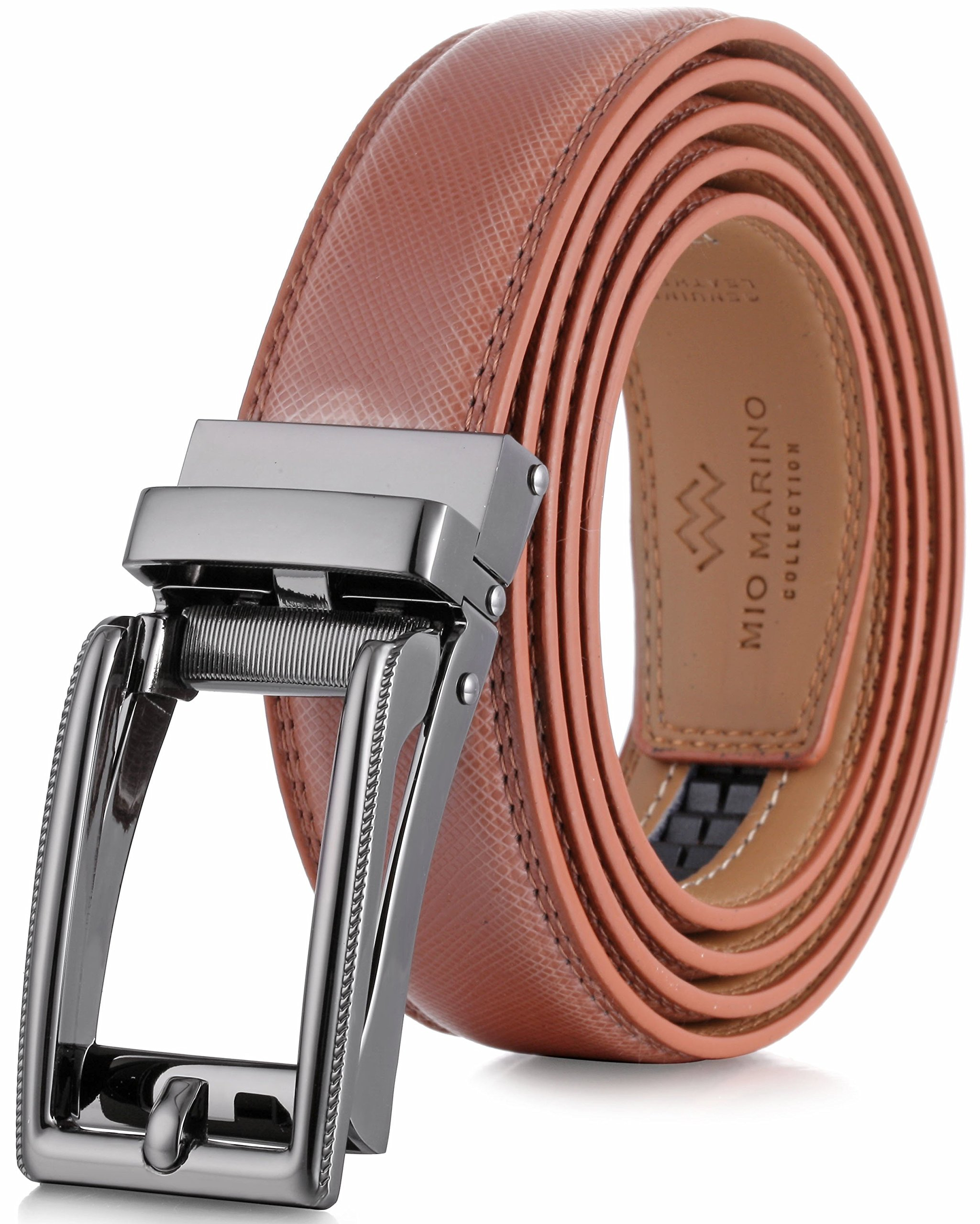 Marino Men's Genuine Leather Ratchet Dress Belt with Open Linxx Buckle, Enclosed in an Elegant Gift Box - Light Tan - Style 70 - Custom: Up to 44'' Waist