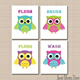 Owl Bath Accessories 6 Piece Collection