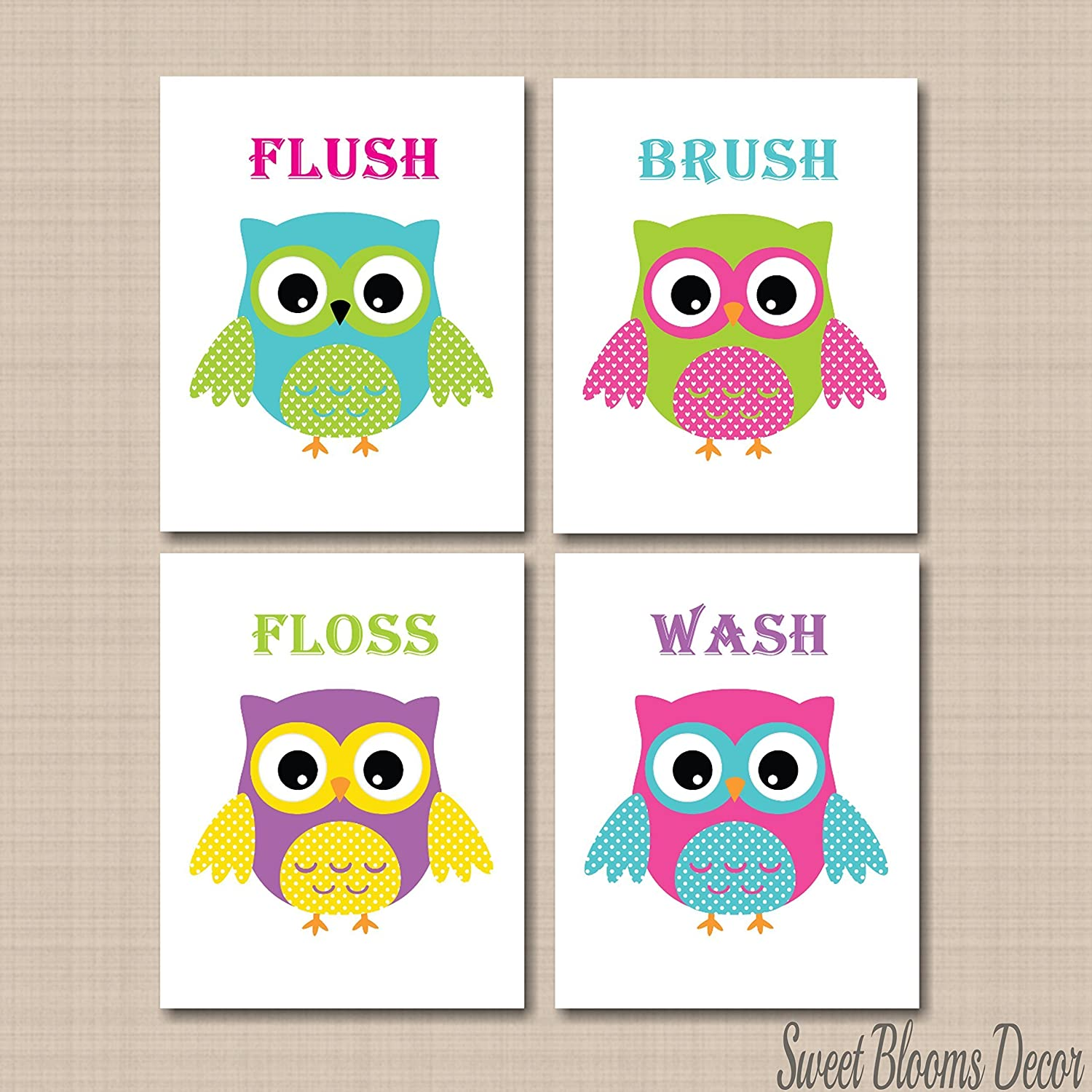 Bathroom wall art for kids - Amazon Com Owl Bathroom D Cor Owl Bathroom Wall Art Owl Wall Art Owl Kids Bathroom Wall Art Owl Theme Bathroom Wash Brush Flush Floss Unframed Set Of 4