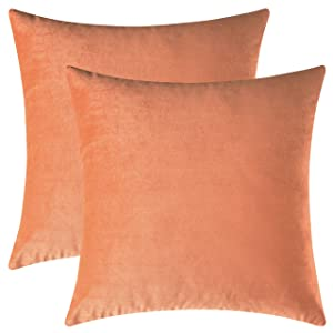 Mixhug Set of 2 Cozy Velvet Square Decorative Throw Pillow Covers for Couch and Bed, Pale Coral, 18 x 18 Inches