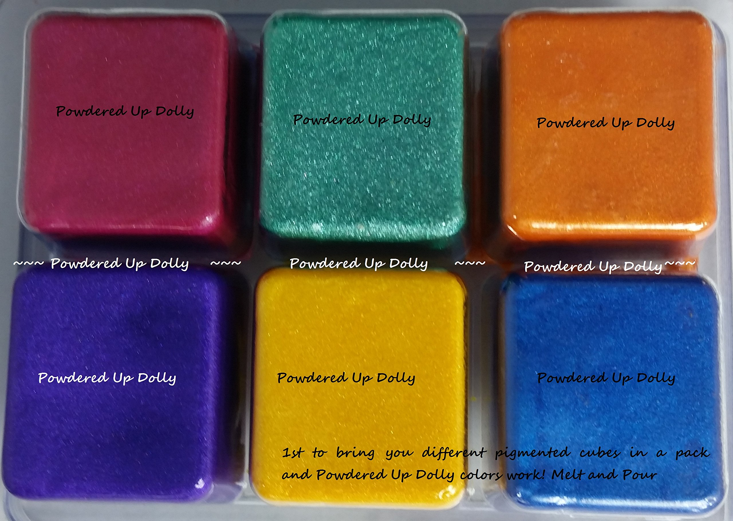 Set of 6 Color Block Cubes Fuschia Pink Teal Green Orange Purple Yellow and Blue Mica Pack for Melt and Pour Soap Coloring DIY MP Melted Clear Bath Bar Dye