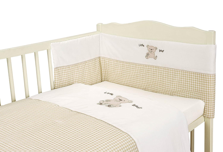 Unisex Baby Cream Gingham Bear 3 Piece Bedding Bale Set - Nursery Cot bed by My Little World Angel' s Hub