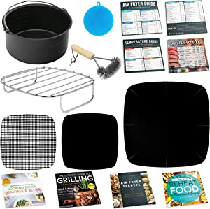 Air Fryer Accessories for Ninja, Bella, GoWise, Habor, Paula Deen, Power Airfryer Oven Elite, Vortex, Yedi, Zokop, Cozyna +More | Complete Set of Rack, Cake Pan, Cooking Guides.