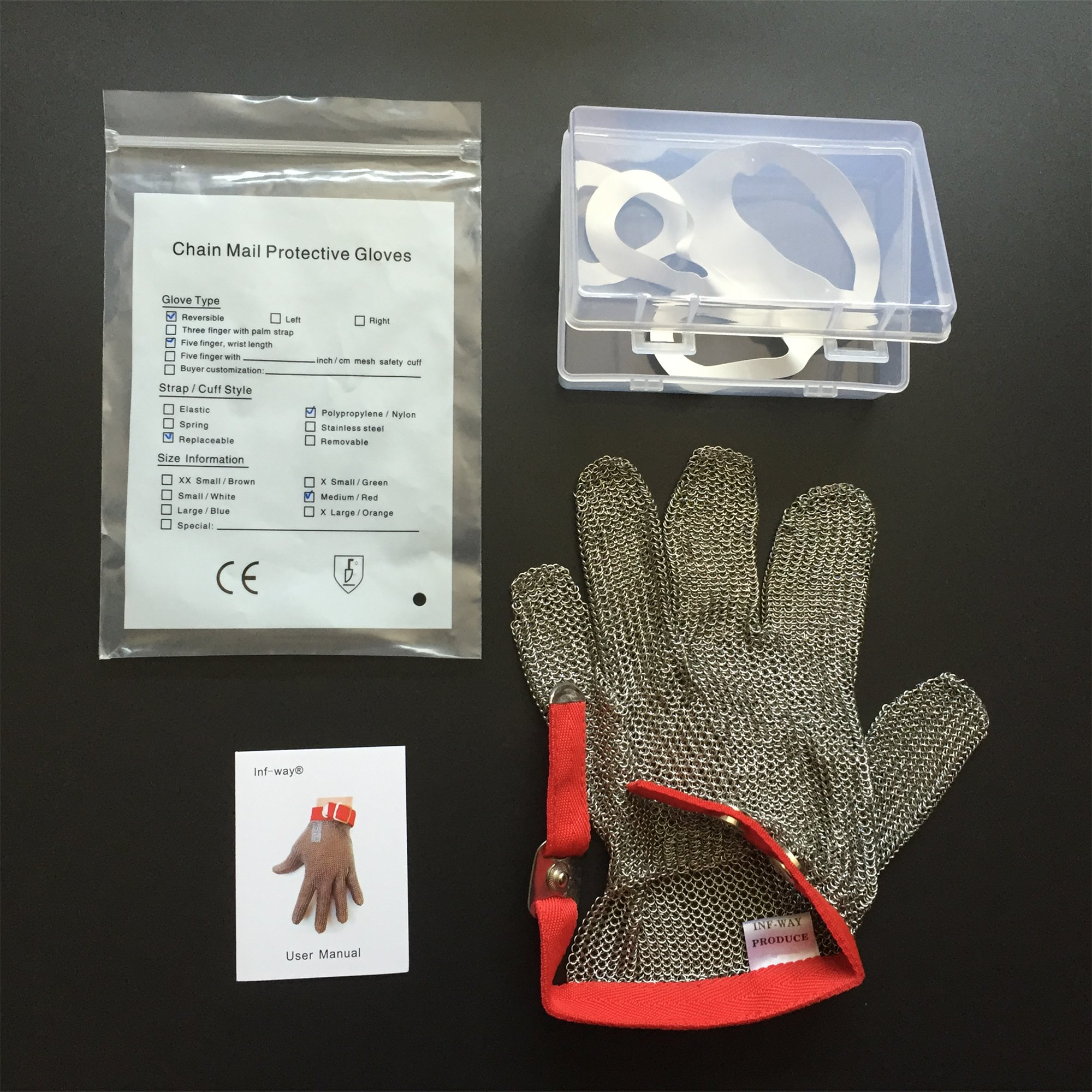 Inf-way 304L Brushed Stainless Steel Mesh Cut Resistant Chain Mail Gloves Kitchen Butcher Working Safety Glove - As Seen On TV 1pcs (Extra Large) by Inf-way (Image #6)