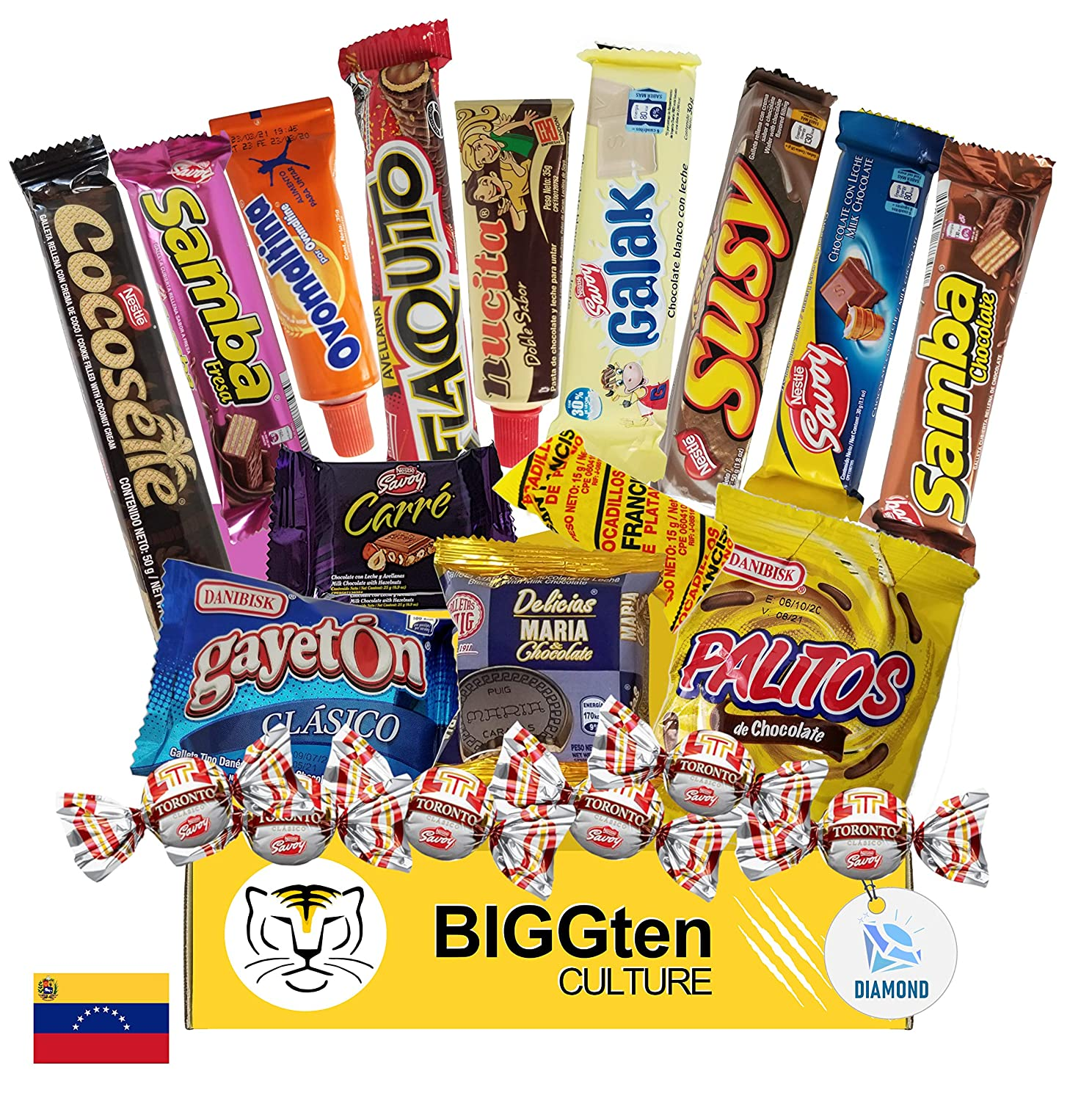 Venezuelan Sweet Snacks Gift Box – International Snack and Candy –Great Assortment of Foreign Treats, Wafer Cookies, Chocolates, Cocosette, Susy, Toronto, Nucita, Galak, Bocadillos, & more. (20 Count)