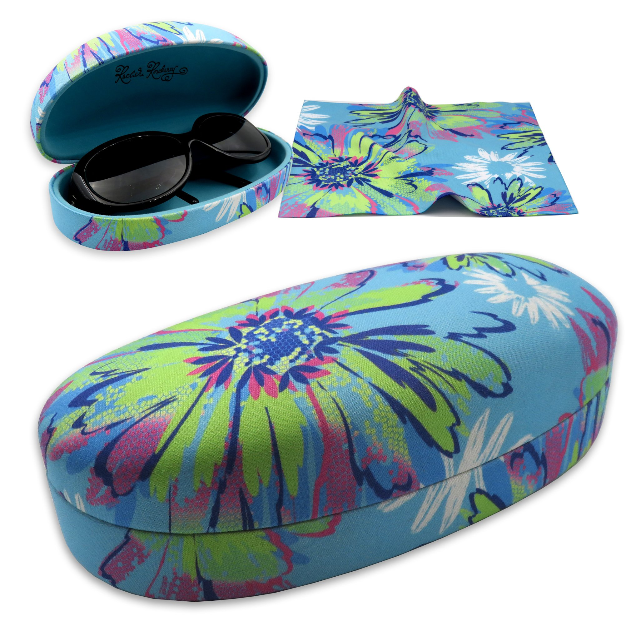 Rachel Rowberry Floral Sunglasses Case with eyeglass cleaning cloth in a unique Microfiber Smooth Finish | for Medium & Large frames (AS113 Pop Floral) by MyEyeglassCase