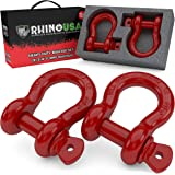 """Rhino USA D Ring Shackle (2 Pack) 41,850lb Break Strength – 3/4"""" Shackle with 7/8 Pin for use with Tow Strap, Winch, Off…"""