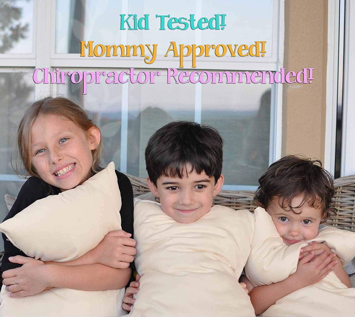Stuffed To Be Slim For Kids And Stomach Sleepers Made In USA Dreamtown Kids Standard Size Pillow with Organic Cotton Shell 20x26 Tan