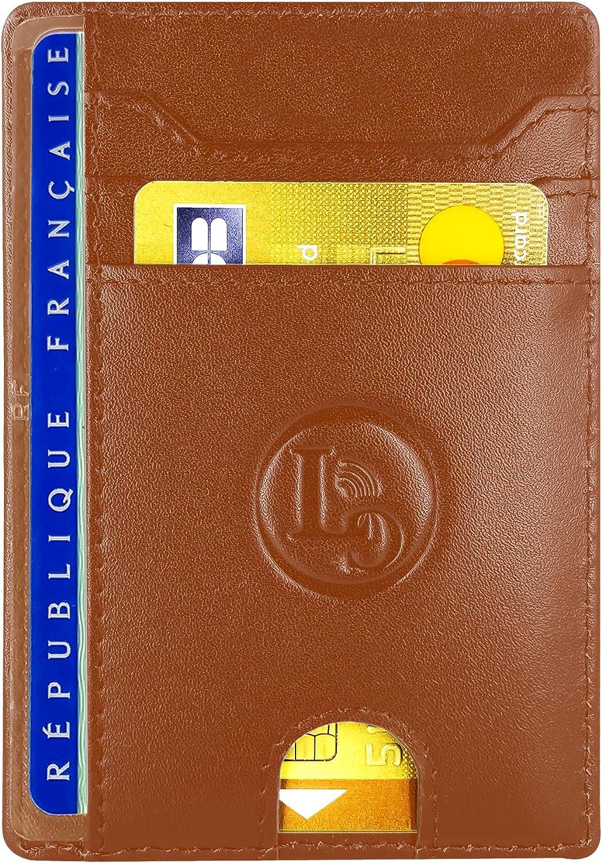 LuxyGo Porte Carte De Credit et Pi/èce Identit/é Portefeuille Mince Anti RFID Id/ée Cadeau Homme Petit Etui Cuir Slim Protege Contre Le piratage Bancaire Protection Cartes Bleue sans Contact