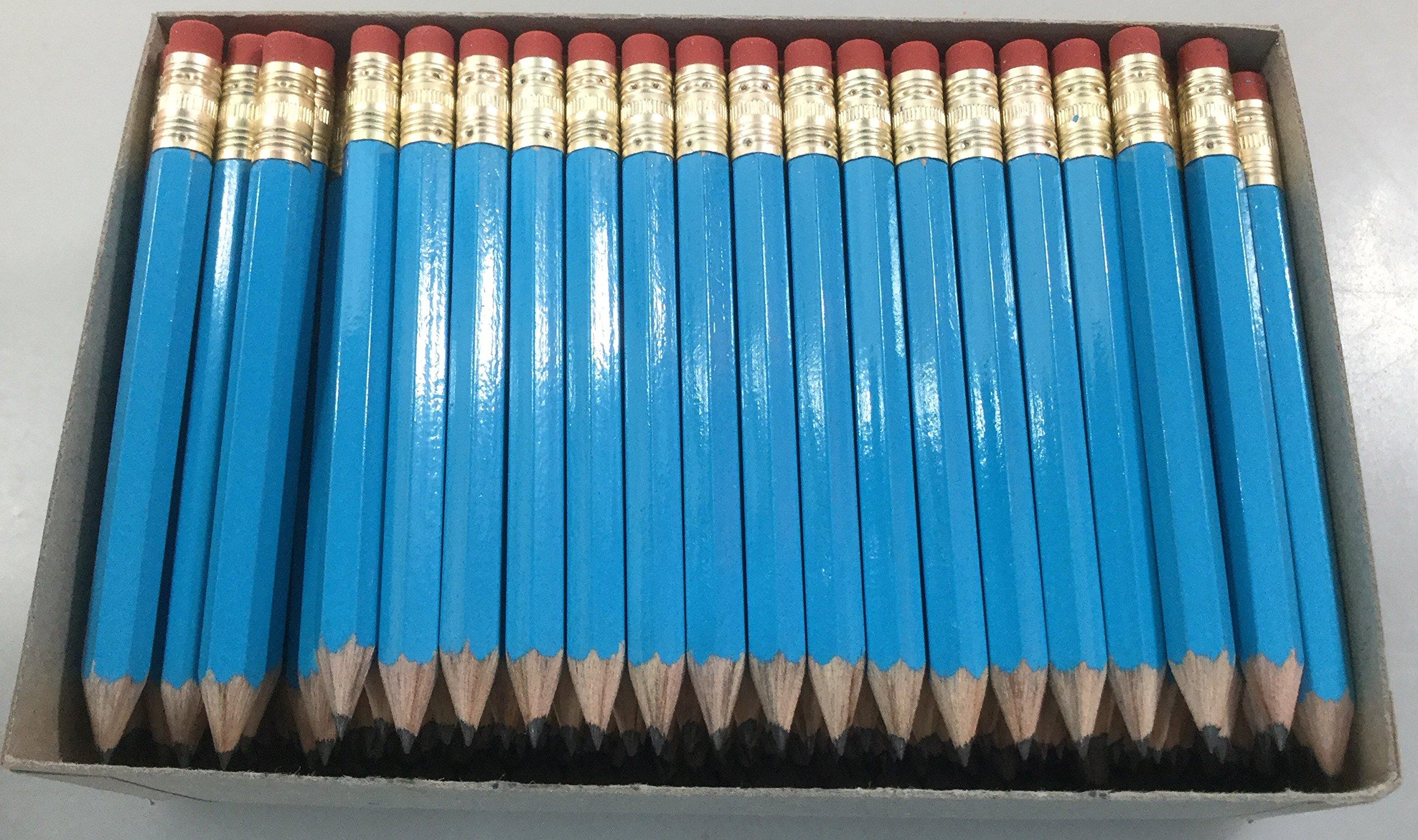 144 Lapices de bolsillo #2 con goma color azul
