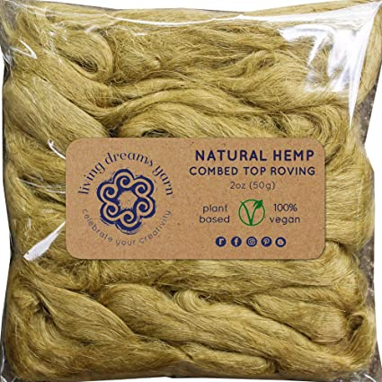 Blending Marine Felting /& Fiber Arts Natural Vegan Combed Top Roving Hemp Fiber for Spinning