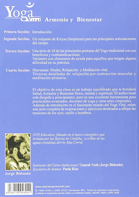 Amazon.com: Yoga Vital Armonia y Bienestar: Jorge Bidondo ...