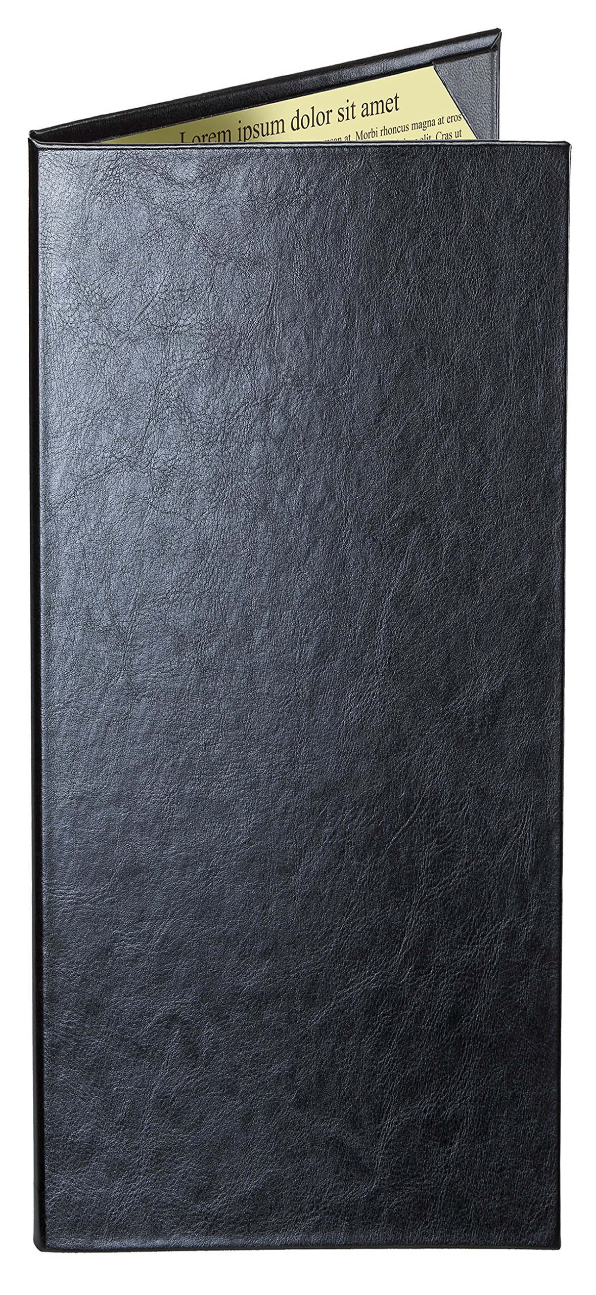 Case of 5 Cascade Casebound ''Tall & Thin'' Menu Covers #8098 BLACK DOUBLE PANEL - 2-VIEW - 4.25'' WIDE x 14'' TALL. Interior album corners. Type MenuCoverMan in Amazon search.
