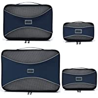 (Marine Blue) - Pro Packing Cubes - 4 Piece Lightweight Travel Packing Cubes Set - Organisers and Compression Pouches System for Carry-on Luggage Accesories, Suitcase and Backpacking