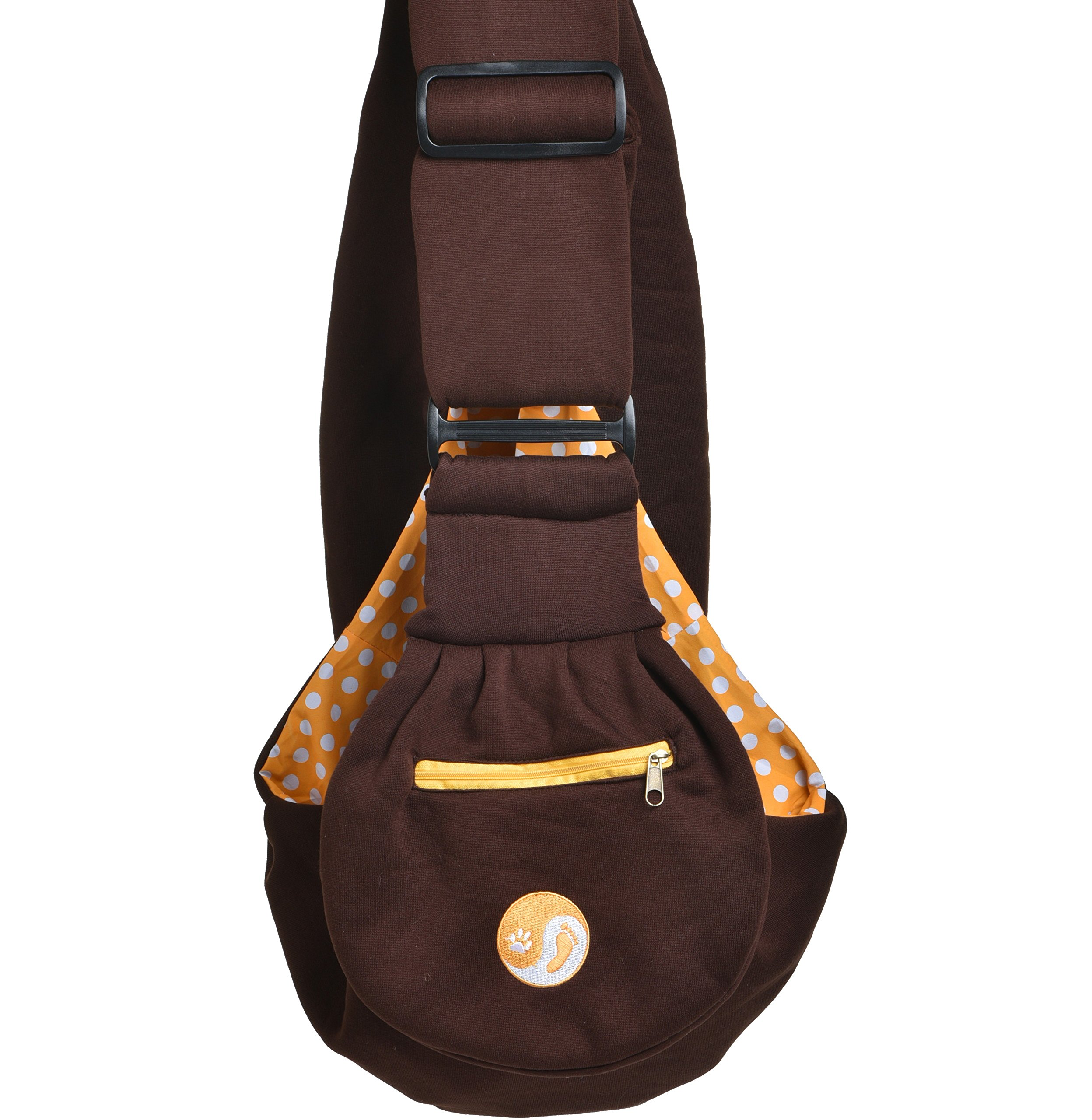 Timetuu adjustable handsfree dog carrier sling with unique buckles, zippered pocket and water proof bag for small dogs and puppies. Reversible double sided ultra soft brown tote fits all heights