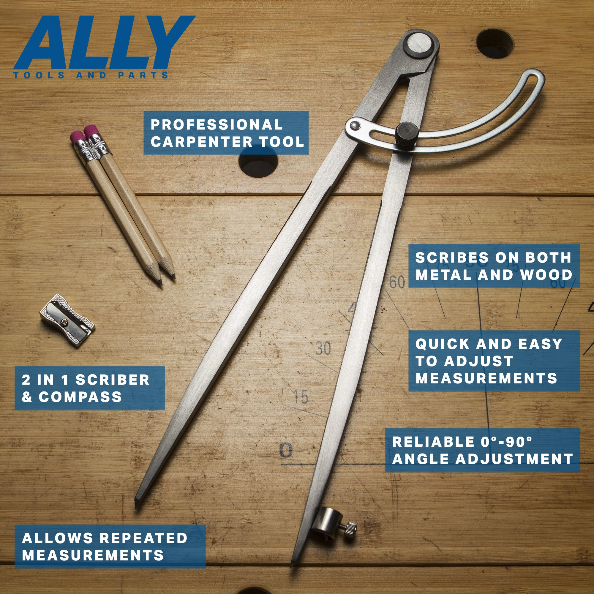 ALLY Tools 12'' Wing Divider Pencil Holder/Compass Scribe Kit INCLUDES Two Pencils and Metal Pencil Sharpener Ideal for Drawing Circles, Scribing Wood, Scribing Metal, Drafting, and Map Plotting by ALLY Tools and Parts (Image #4)