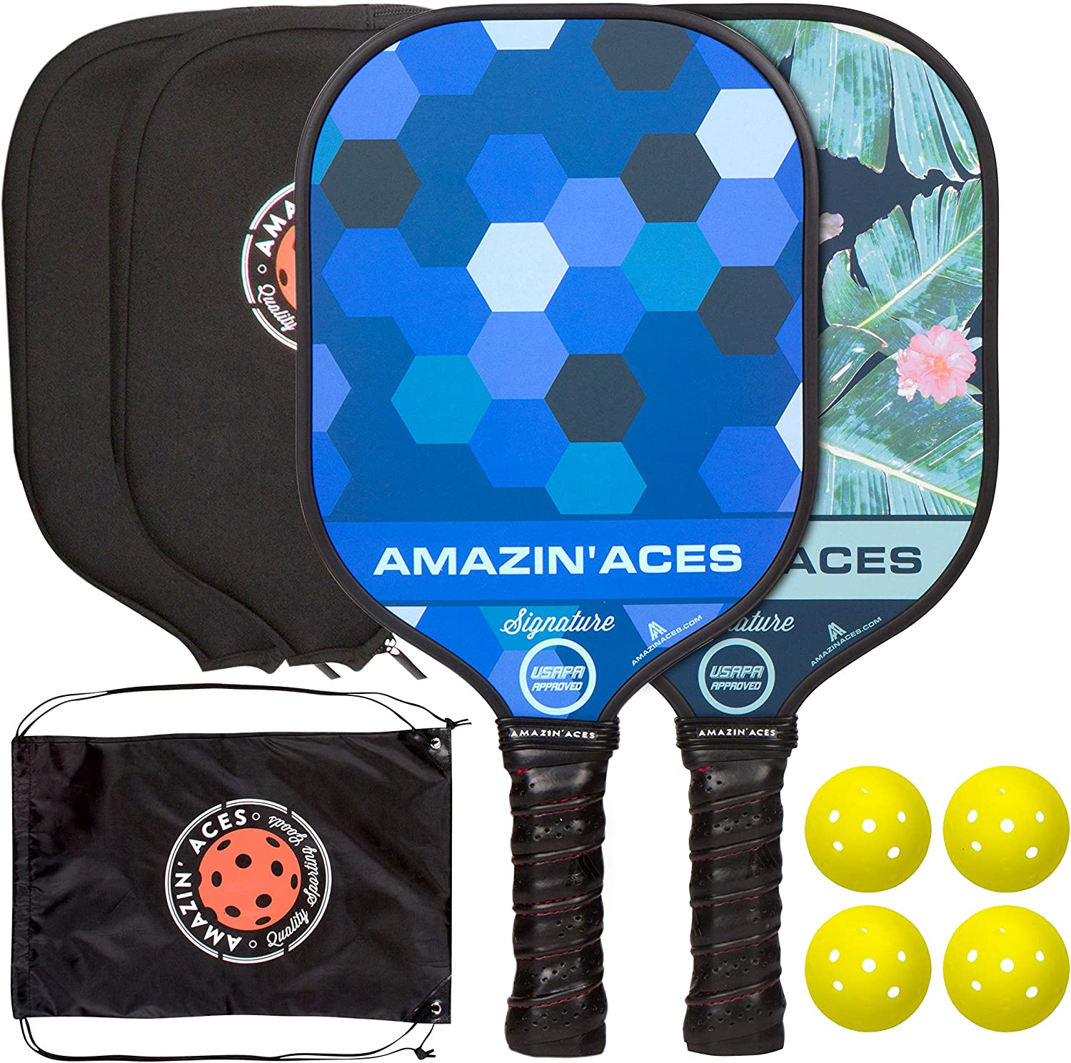 Amazin Aces Signature Pickleball Paddle | USAPA Approved | Graphite Face & Polymer Core | Premium Grip | Paddles Available as Single or Set | Set ...