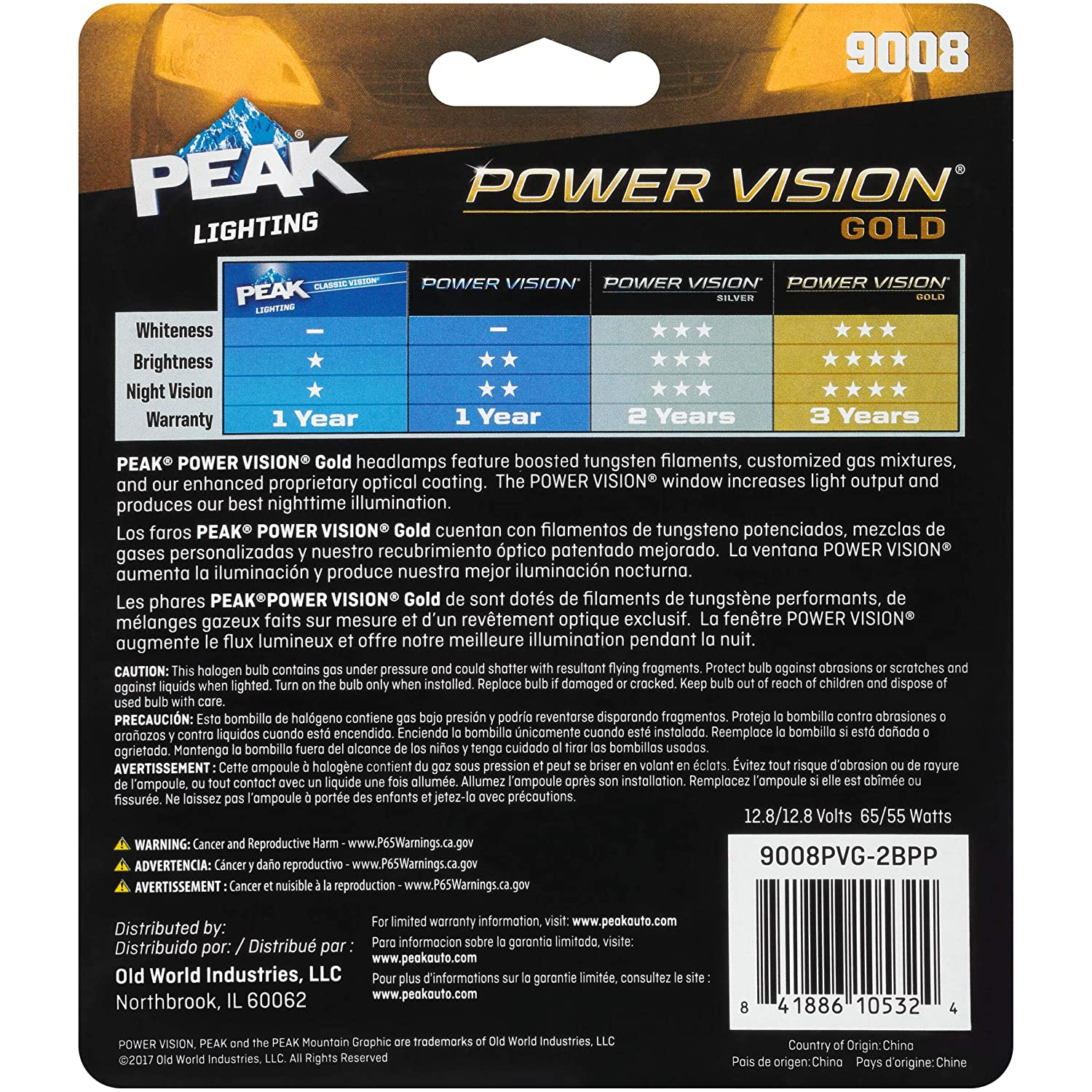 9008 H13 Peak Power Vision Gold Automotive Performance Headlamp 2 Pack