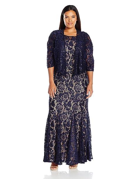 9b110c40c8b Alex Evenings Women s Plus Size Long Lace Jacket Dress