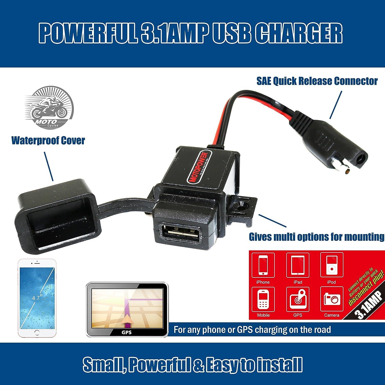 MOTOPOWER MP0609A 3.1Amp impermeable motocicleta cargador USB Kit SAE a USB adaptador Cargador de teléfono de la motocicleta cargador GPS: Amazon.es: ...