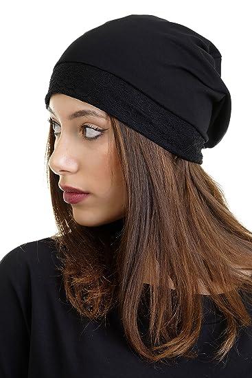 94a6f86c49ea 3Elfen Casquette avec Bordure de Dentelle Bonnet Femme de pour Femme -  Chapeau Cap Jersey - Noir  Amazon.fr  Vêtements et accessoires