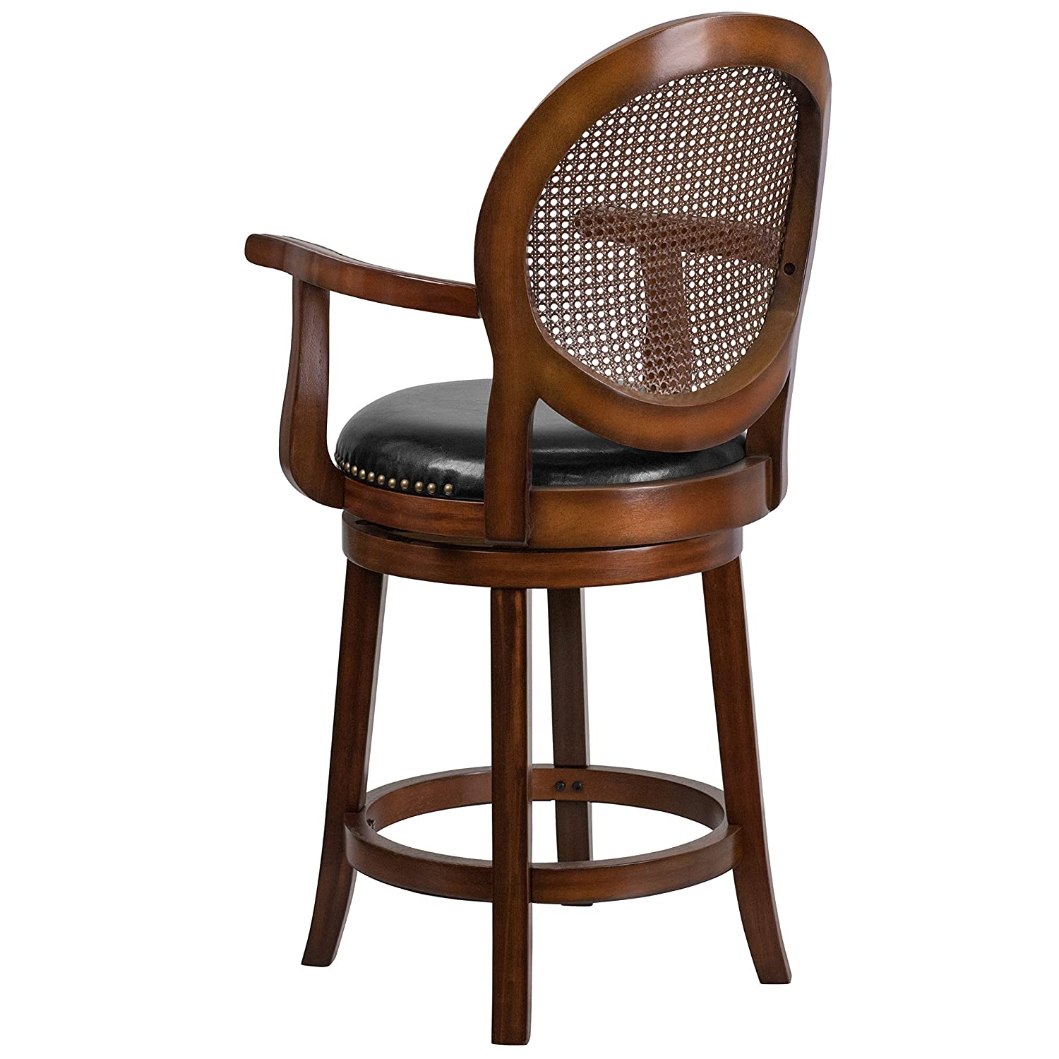 Flash Furniture 26 High Expresso Wood Counter Height Stool with Arms and Black Leather Swivel Seat