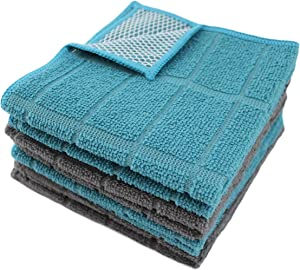 Microfiber Kitchen Dish Cloths for Washing Dishes with Poly Scour Side, Fast Dry no Odor wash Cloth with Scrubber Side, Dish Rags with mesh Back. 12x12 - 4xTurquoise (Teal), 4xGray