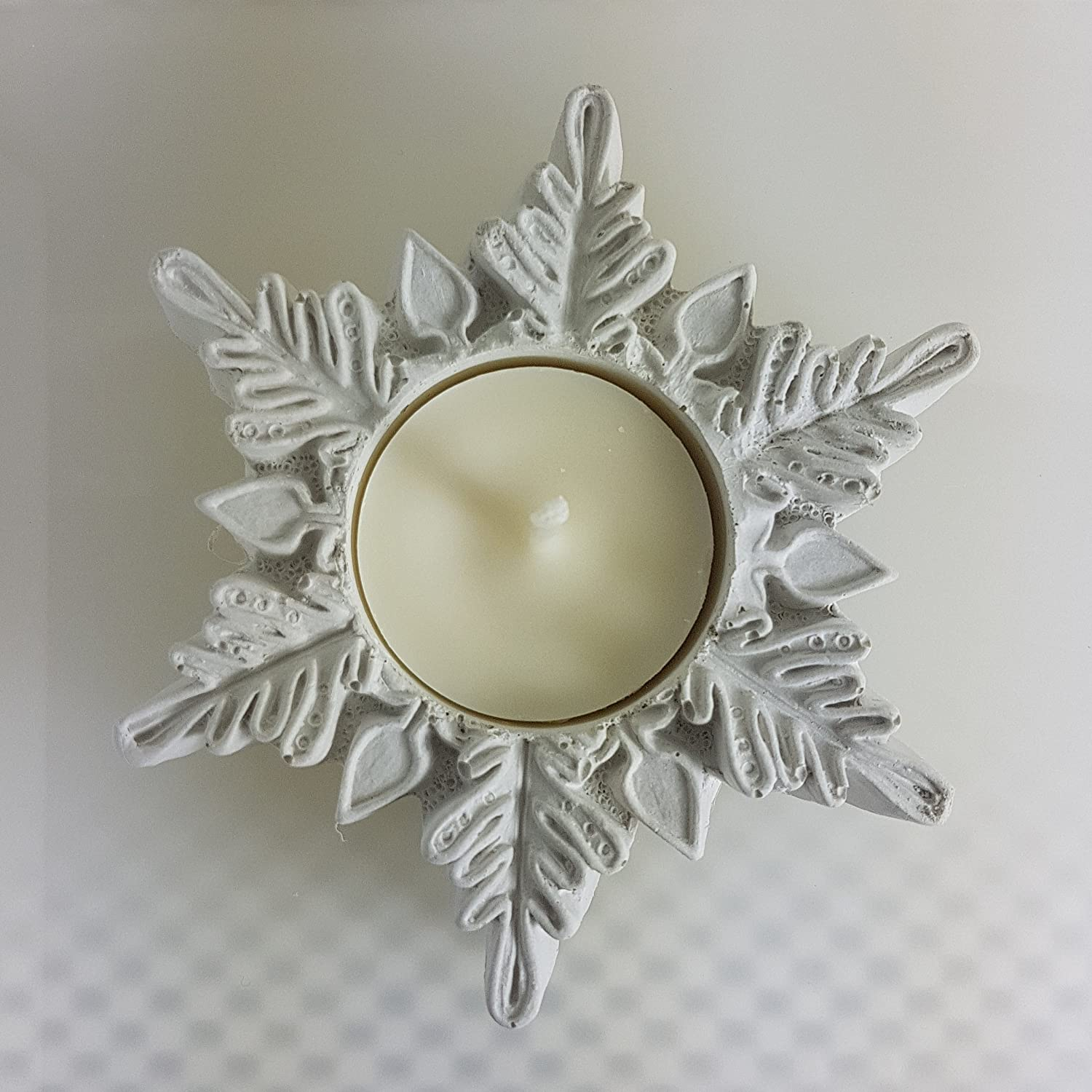White Snowflake Tea Light Candle Holder