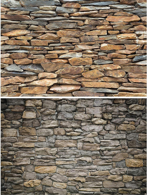 GREAT ART Set de 2 Carteles XXL - Paredes de Piedra Natural - Revestimiento de Paredes Piedra Gris y Pizarra Aspecto Piedra diseño Industrial decoración de la Pared (140 x 100 cm):