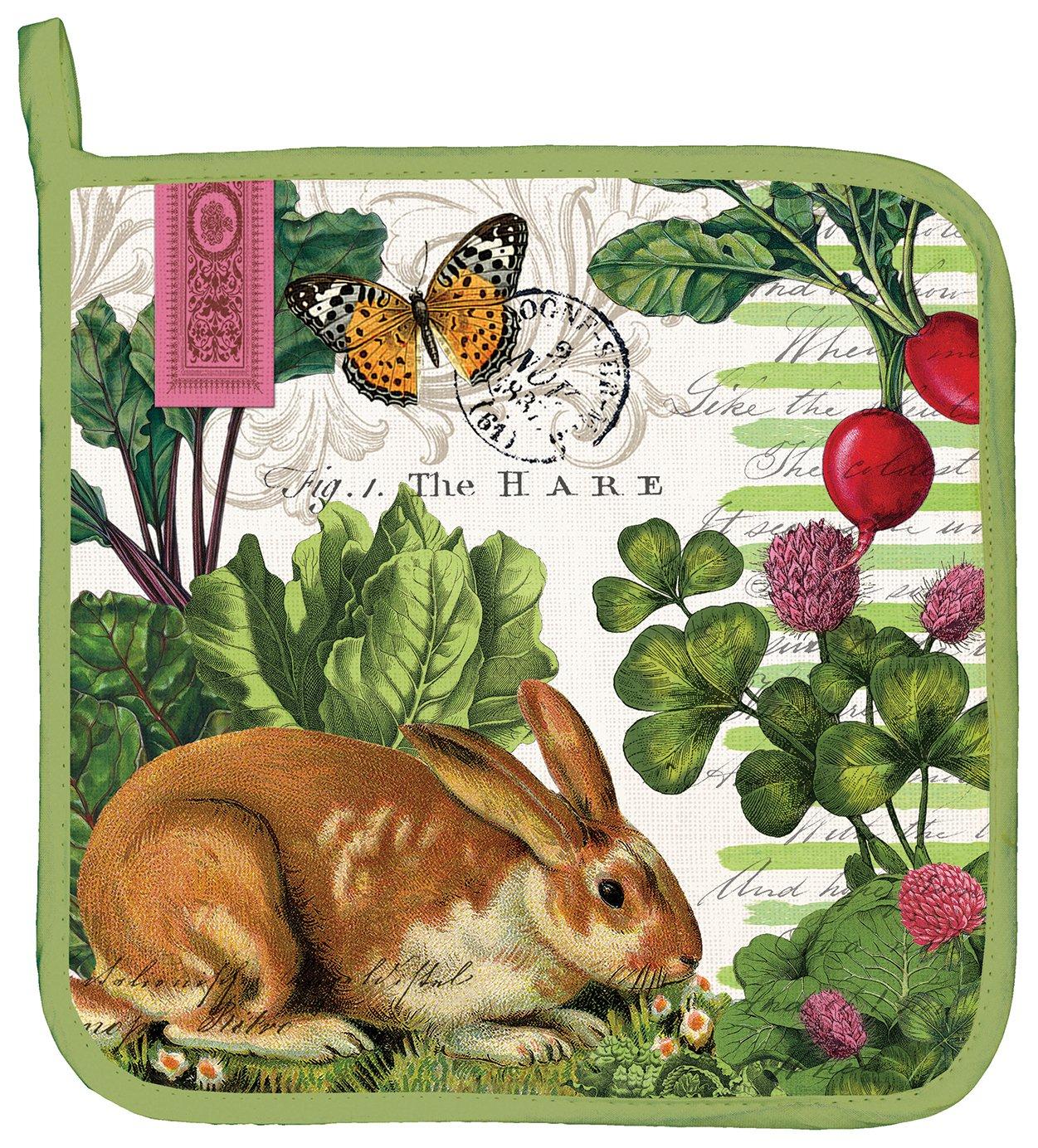 NEW Michel Design Works Cotton Kitchen Tea Towel Garden Bunny