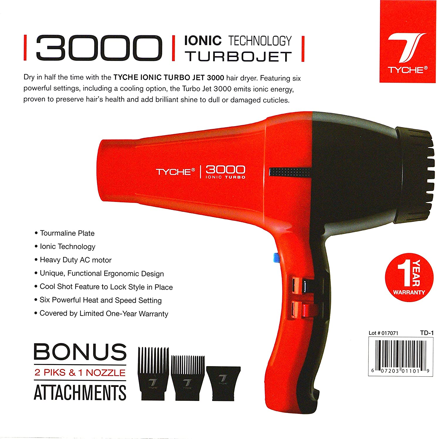 Tyche Turbo Jet Ionic 3000 Professional Dryer 1 Year Warranty Included