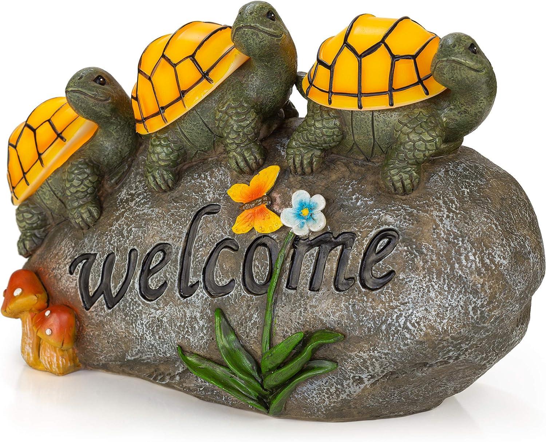 Welcome Turtles on a Rock Solar Garden Light