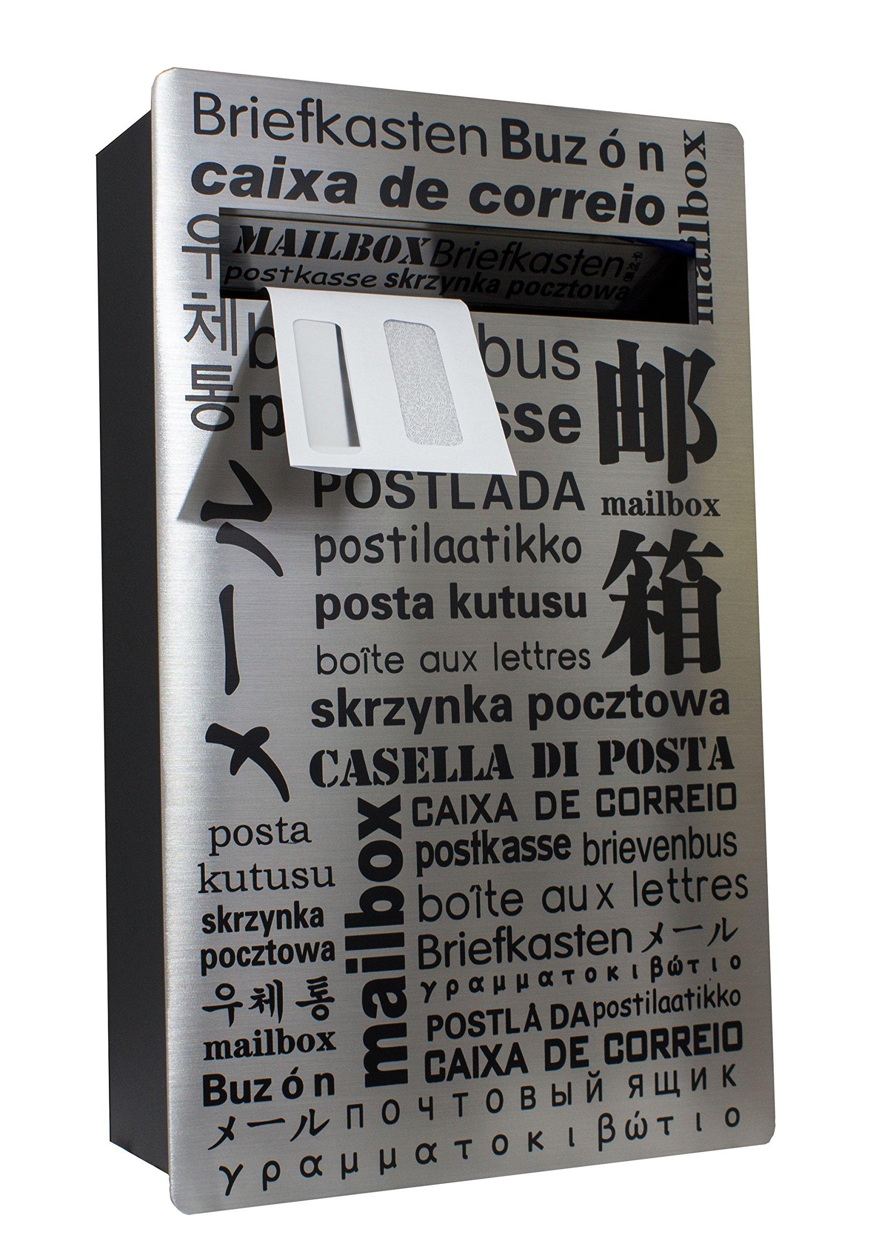 Qualarc WF-PM18 Verse Wall Mount Rectangular Stainless Steel Front Locking Mailbox, Silver/Black
