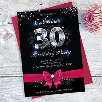 30th Birthday Party Sparkly Bow Style Invitations