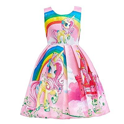 Dressy Daisy Girls Dress Costumes Rainbow Unicorn Costumes Fancy Dress up: Clothing