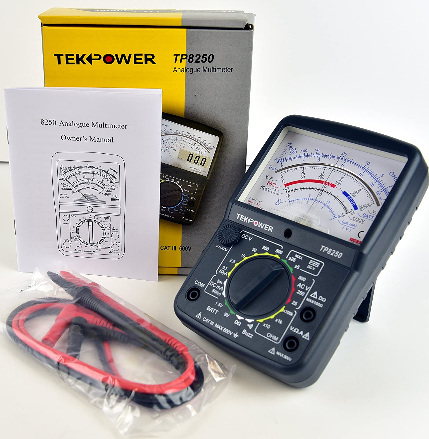 Tekpower Tp8250 Analog Multimeter With Null Middle Position 0 For 1m 100k 1 And Is Suitable Measuring Dc Voltages Up To Variation Measurement