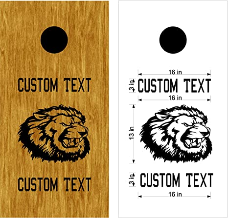 2780bdadf Amazon.com : Lions Mascot Sports Team Cornhole Board Decals Stickers Enough  Both Boards Wedding Tailgating Camping Games Do It Yourself Designs Custom  Corn ...