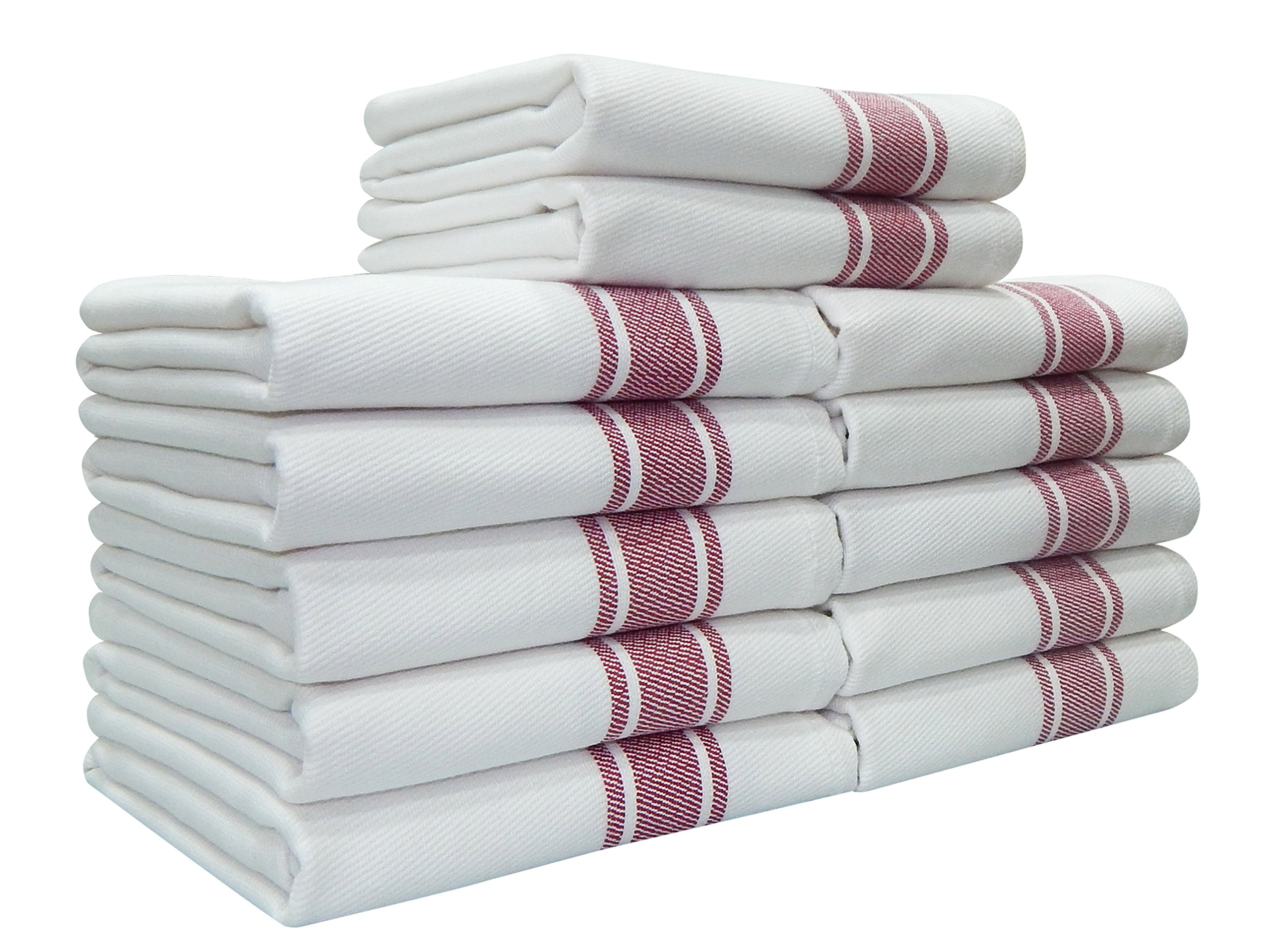 Kitchen Towels,100% Natural Cotton, 12 Pack, 27 x 17 inch, White with Red Stripe, Absorbent & Quick Dry Tea towels, Value Pack of Dish Cloth Towels by Tiny Break